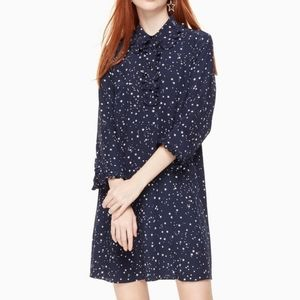 Kate Spade Night Sky Navy Blue Star Silk Dress